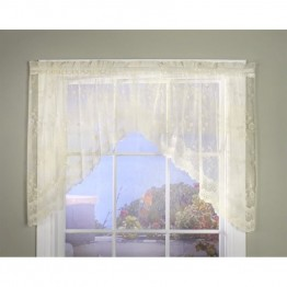Commonwealth Mona Lisa Bridal Lace Rod Pocket Curtain Swag in Shell