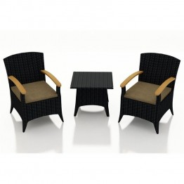 Harmonia Living Arbor 3 Piece Patio Bistro Set in Heather Beige