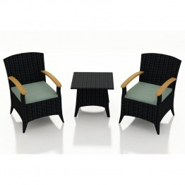 Harmonia Living Arbor 3 Piece Patio Bistro Set in Canvas Spa
