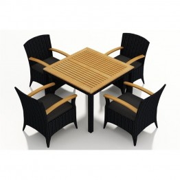 Harmonia Living Arbor 5 Piece Square Patio Dining Set in Charcoal