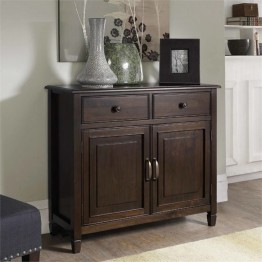 Simpli Home Connaught Entryway Storage Cabinet in Chestnut Brown