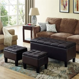 Simpli Home Dover Faux Leather 3 Piece Storage Ottoman in Brown