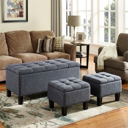 Simpli Home Dover 3 Piece Storage Ottoman in Gray
