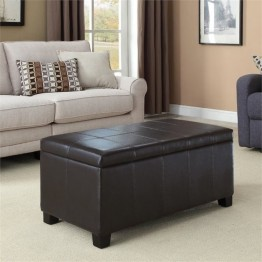 Simpli Home Dover Faux Leather Storage Bench in Brown