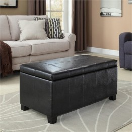 Simpli Home Dover Faux Leather Storage Bench in Black