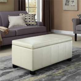 Simpli Home Dover Faux Leather Storage Bench in Cream