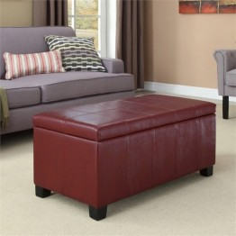 Simpli Home Dover Faux Leather Storage Bench in Radicchio Red