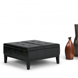 Simpli Home Dover Faux Leather Coffee Table Storage Ottoman in Black