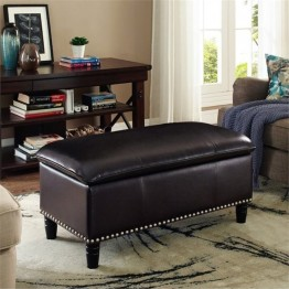 Simpli Home Emily Faux Leather Pillow Top Storage Bench in Brown