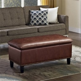 Simpli Home Emily Faux Leather Pillow Top Storage Bench in Cognac