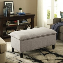Simpli Home Emily Pillow Top Storage Bench in Natural