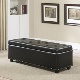 Simpli Home Hamilton Storage Bench in Black