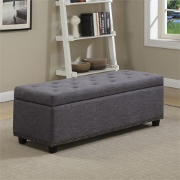 Simpli Home Hamilton Storage Bench in Gray