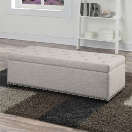 Simpli Home Hamilton Storage Bench in Natural