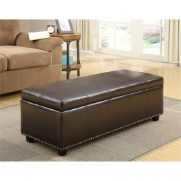 Simpli Home Kingsley Storage Bench in Brown