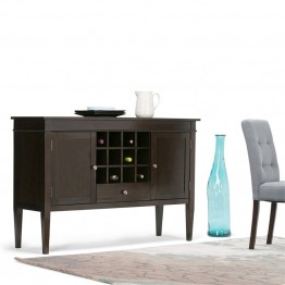 Simpli Home Carlton Sideboard and Wine Rack in Tobacco Brown