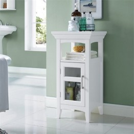 Simpli Home Avington Floor Linen Cabinet in White