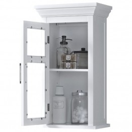 Simpli Home Avington Single Door Wall Medicine Cabinet in White