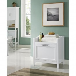 Simpli Home Avington Storage Hamper Bench in White