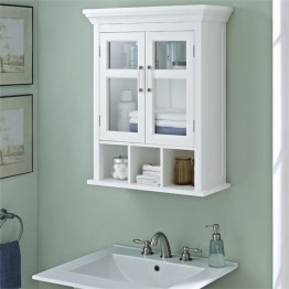Simpli Home Avington Two Door Wall Medicine Cabinet in White