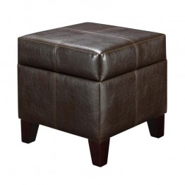 "Dorel Living 18"""" Cube Faux Leather Storage Ottoman in Espresso"