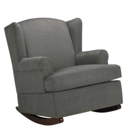Baby Relax Harlow Wingback Nailhead Trim Rocker in Charcoal