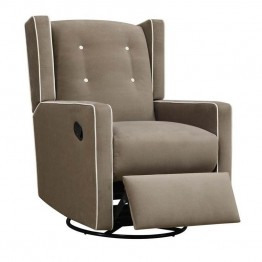 Baby Relax Mikayla Upholstered Swivel Gliding Recliner in Mocha