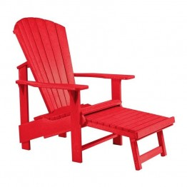 CR Plastic Generations Upright Adirondack Chair with Stool in Red