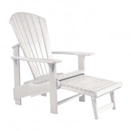 CR Plastic Generations Upright Adirondack Chair with Stool in White