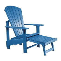 CR Plastic Generations Upright Adirondack Chair with Stool in Blue