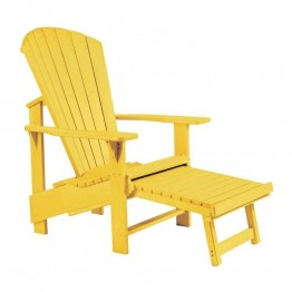 CR Plastic Generations Upright Adirondack Chair with Stool in Yellow