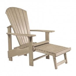 CR Plastic Generations Upright Adirondack Chair with Stool in Beige