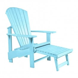 CR Plastic Generations Upright Adirondack Chair with Stool in Aqua