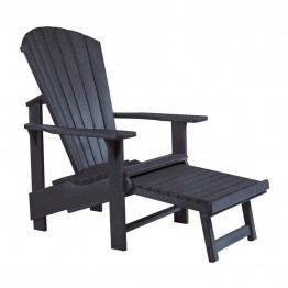 CR Plastic Generations Upright Adirondack Chair with Stool in Black