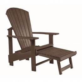 CR Plastic Generations Upright Adirondack Chair with Stool in Brown