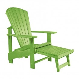 CR Plastic Generations Upright Adirondack Chair with Stool in Kiwi