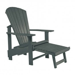 CR Plastic Generations Upright Adirondack Chair with Stool in Gray