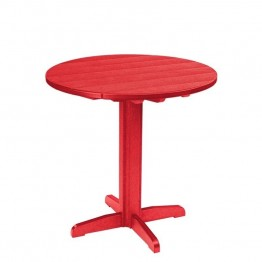 "CR Plastic Generations 37"""" Round Patio Pub Table in Red"