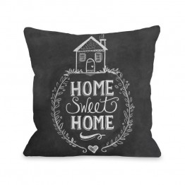 "One Bella Casa 16"""" Home Sweet Home House Pillow in Gray"