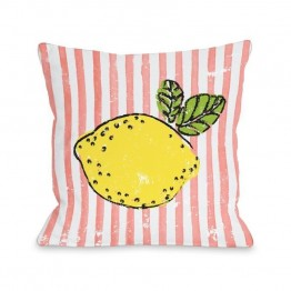 "One Bella Casa 16"""" Lemona Pillow in Coral"