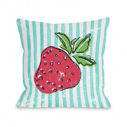 "One Bella Casa 16"""" Strawbooty Pillow in Teal"