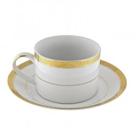10 Strawberry Street Luxor Cup and Saucer in White and Gold (Set of 6)