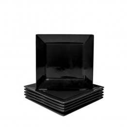 10 Strawberry Street Nova Square Butter Plate in Black (Set of 6)