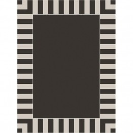 "SimplyShade Cabana Stripe 7'4"""" x 5'3"""" Patio Rug in Stripe Black"