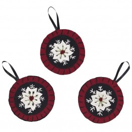 VHC Brands Christmas Snowflake Felt Ornament in Red (Set of 3)