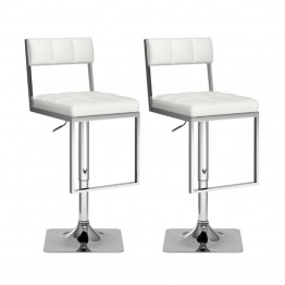 Square Tufted Adjustable Bar Stool in White Leatherette (Set of 2)