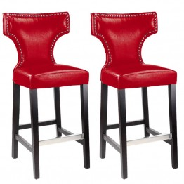 "Kings 29"""" Bar Stool with Metal Studs in Red(Set of 2)"
