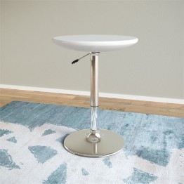 Adjustable Height Round Bar Table in Glossy White