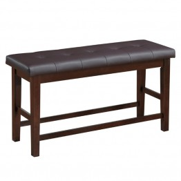Bonded Leather Counter Height Dining Bench in Chocolate Brown
