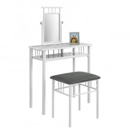 Monarch 2 Piece Metal Vanity Set in White